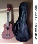 Small photo of classic ukulele and ukulele bag on brown background with sunlight