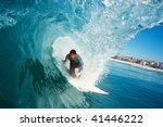 surfer in the tube on perfect... | Shutterstock . vector #41446222