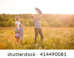 happy family with two boys on a ... | Shutterstock . vector #414490081