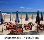 tropical sea and beach with... | Shutterstock . vector #414504481