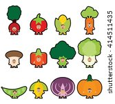 12 veggies mascot set1. i love... | Shutterstock .eps vector #414511435
