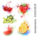watercolor painting  fruits and ... | Shutterstock .eps vector #414513319