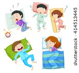boys and girls sleeping in bed... | Shutterstock .eps vector #414513445