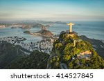 Small photo of RIO DE JANEIRO, BRAZIL - CIRCA FEBRUARY 2016: Aerial view of Christ The Reedemer Statue and Sugar Loaf Mountain from high angle.