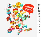 collection of summer stickers ... | Shutterstock .eps vector #414527899