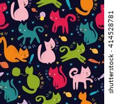 Stock vector vector seamless pattern cute colored cats for wallpaper textiles 414528781