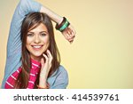 happy smiling young woman close ... | Shutterstock . vector #414539761
