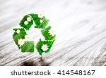green recycle sign with daisy...   Shutterstock . vector #414548167