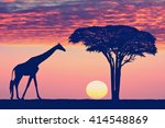silhouettes of giraffe and... | Shutterstock . vector #414548869