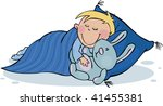 sleepy boy with a favourite toy | Shutterstock .eps vector #41455381