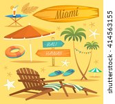 summer holidays. set of objects.... | Shutterstock .eps vector #414563155