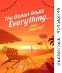 the ocean heals everything.... | Shutterstock .eps vector #414563749