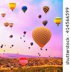 hot air balloons flying over... | Shutterstock . vector #414566599