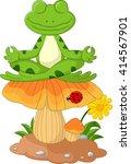 frog cartoon sitting on mushroom | Shutterstock . vector #414567901