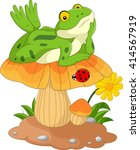 cartoon frog laying down on the ... | Shutterstock . vector #414567919