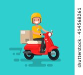 fast delivery. the guy on the... | Shutterstock .eps vector #414568261