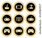 video games icons gold icon set | Shutterstock .eps vector #414584557