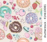seamless breakfast pattern with ... | Shutterstock .eps vector #414610081
