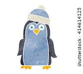 freehand retro cartoon penguin | Shutterstock .eps vector #414614125