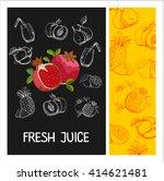 pomegranate juice. fruit.... | Shutterstock .eps vector #414621481