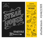 steak house menu. steak drawn... | Shutterstock .eps vector #414621505