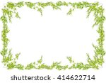 bamboo leaves frame isolated on ... | Shutterstock . vector #414622714