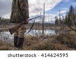hunter standing in the swamp in ...   Shutterstock . vector #414624595