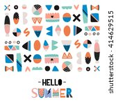 cute hello summer poster with... | Shutterstock .eps vector #414629515
