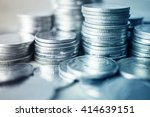rows of coins for finance and... | Shutterstock . vector #414639151