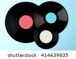 Colored Vinyl Plate On Blue...