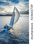 sailing boat in light wind from ... | Shutterstock . vector #414642739