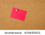 blank red paper note pinned on... | Shutterstock . vector #414650431
