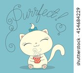 cute cartoon cat with cup of... | Shutterstock . vector #414684229