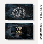 set of vip cards with polygonal ... | Shutterstock .eps vector #414684379