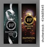 vip invitation cards with gold... | Shutterstock .eps vector #414685645