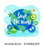 save the world sustainable... | Shutterstock .eps vector #414686269