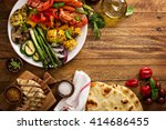 grilled vegetables and chicken... | Shutterstock . vector #414686455