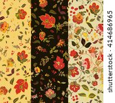 Set Of Floral Seamless Pattern...