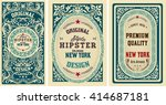 old cards set with floral... | Shutterstock .eps vector #414687181