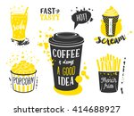 coffee cup  glass of soda  ice... | Shutterstock .eps vector #414688927