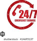 24 7 emergency service grunge... | Shutterstock .eps vector #414695137