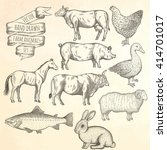 farm collection. bull  hen ... | Shutterstock .eps vector #414701017