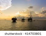 silhouette of oil rig or... | Shutterstock . vector #414703801