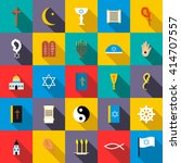 religion icons set in flat... | Shutterstock .eps vector #414707557