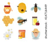 icons apiaries and yellow bee... | Shutterstock .eps vector #414716449