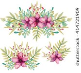 set of watercolor bouquets with ... | Shutterstock . vector #414721909