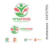 healthy food logo  people with... | Shutterstock .eps vector #414727951
