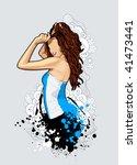 thin sexy girl on bizarre... | Shutterstock .eps vector #41473441