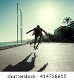 silhouette of skateboarder...   Shutterstock . vector #414738655