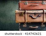 Vintage Pile Ancient Suitcases...